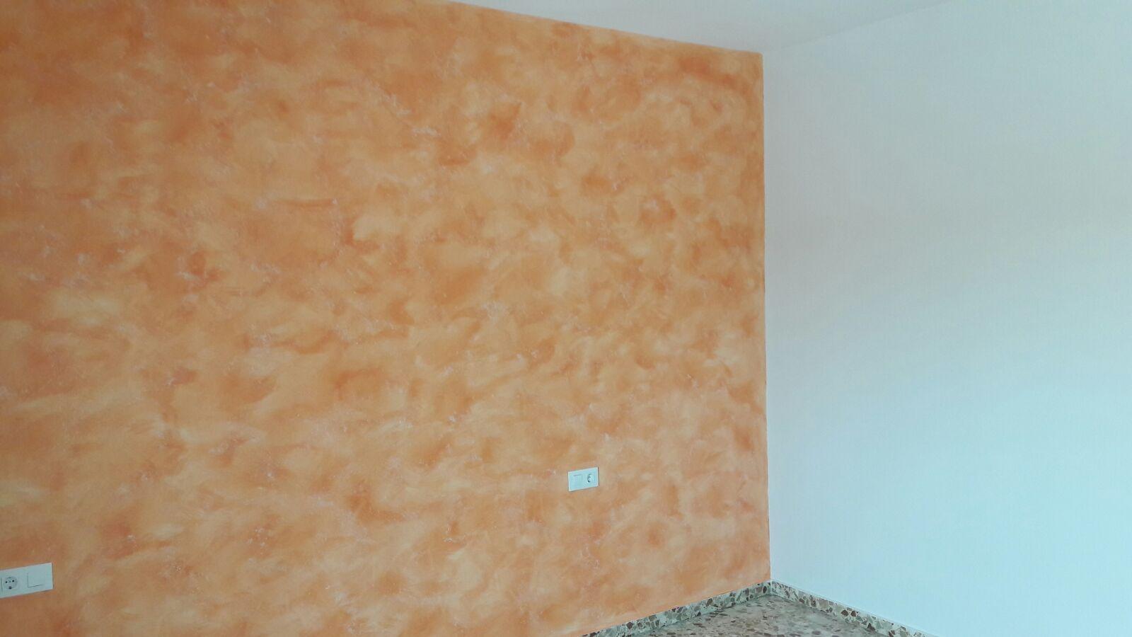 pintura dormitorio art deco en naranja