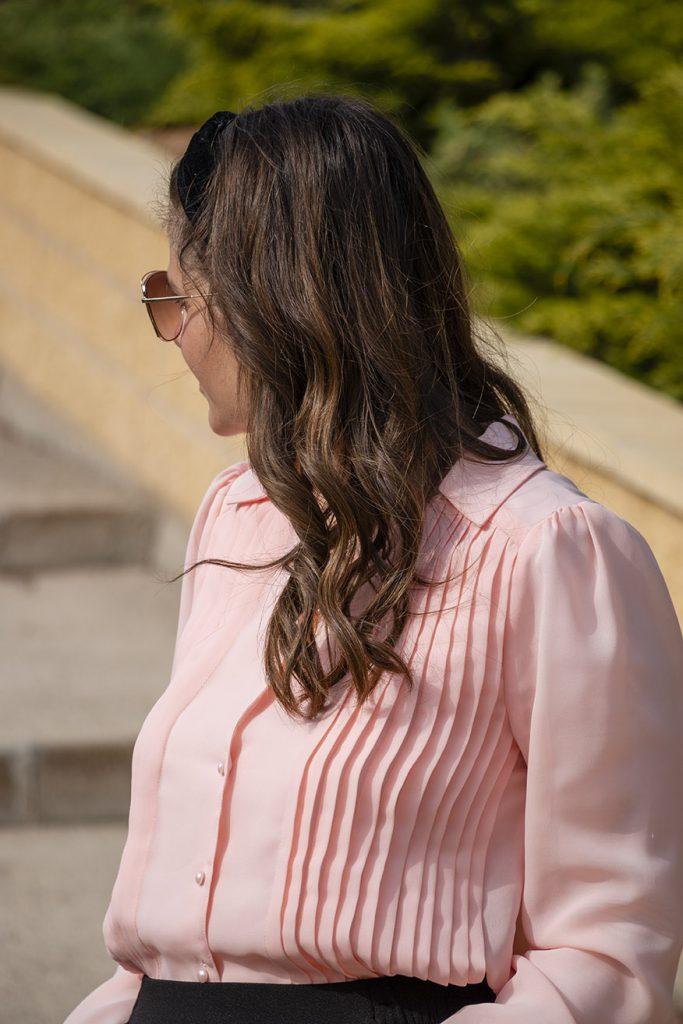 camisa rosa con tablas